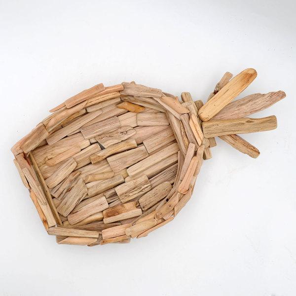 Driftwood Pineapple Decoration, Large Wooden Decorative Bowl