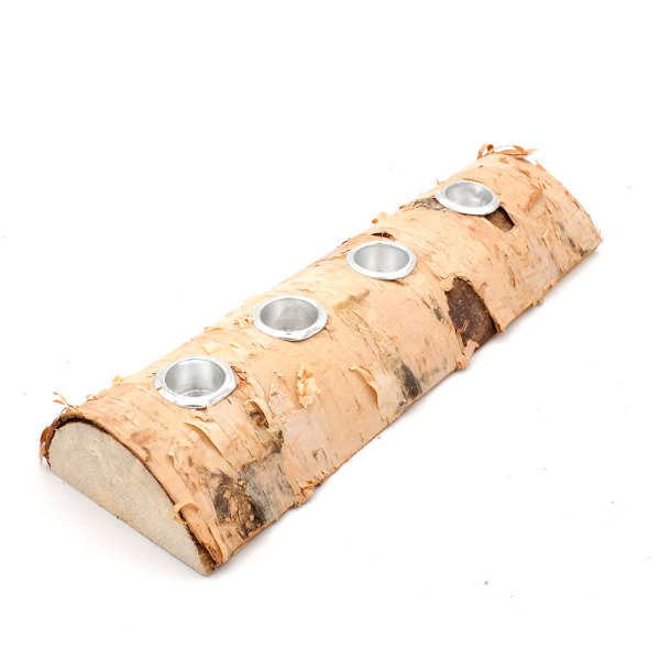 Log Candle Holders, Rustic Tea light Fireplace Log Candle Holder for Woodland Decor