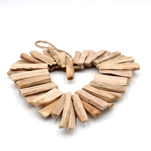 Driftwood Heart Wreath Wall Decor- Natural Wood Romantic Bedroom Decor