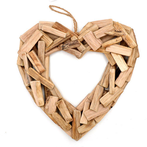 Hanging Driftwood Wreath Heart Wall Art Nautical Decor Beach Theme