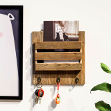 Wall Mount Entryway Mail Organizer, Key Holder Hooks, Coat Rack, Letter & Newspaper Storage, Home Decorative Floating Shelf (Mail Organizer)