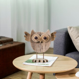 10 Inch Vintage Crafted Art Owl Statue (Wood) Animal Figurines for Home Decor, Living Room Bedroom Office Decoration