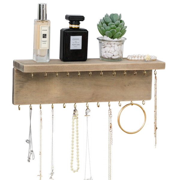 Wall Mounted Jewelry Organizer with 24 Hooks - Rustic Wood Shelf Jewelry Display - Storage for Necklaces, Bracelets, Earrings, Bows (24 Hooks)