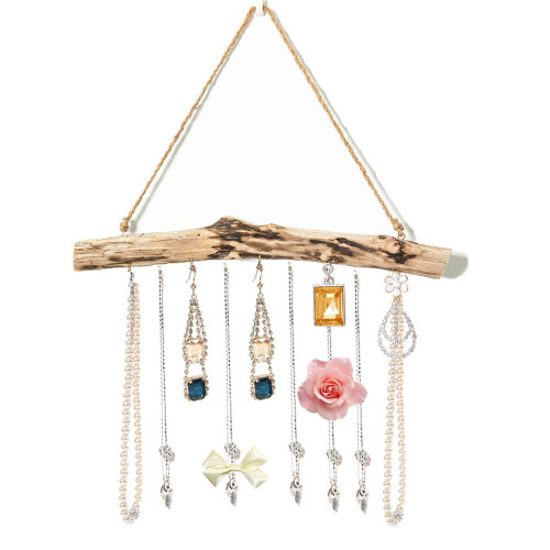 15-Inch Natural Driftwood Branches Wall Hanging Jewelry Organizers with 5-Hook (15-Inch)