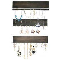Set of 3 Hanging Jewelry Organizers, Wall Mounted Jewelry Hanger with Removable Bracelet Rod and 24 Hooks for Necklaces, Earrings - 11.8Inch (Vintage Organizers)