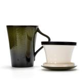 Tea Cup with Infuser Basket and Lid Filter For Loose Leaf Tea, Ceramic Mug for Tea Lover, 12 OZ