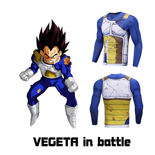 Vegeta Cell Saga Damaged Saiyan Armor Gym Compression Shirt
