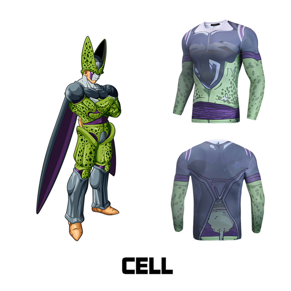 Cell Gym Workout 3D Cool Long Sleeve Compression Shirt