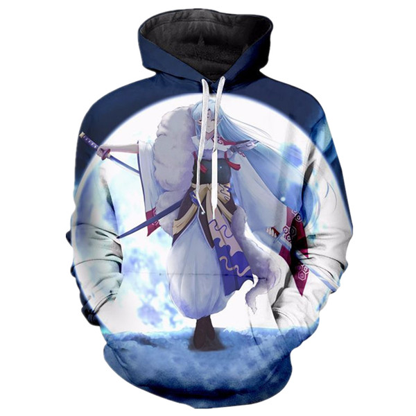 Inuyasha Sesshomaru with Big Moon Sweatshirts Hoodies