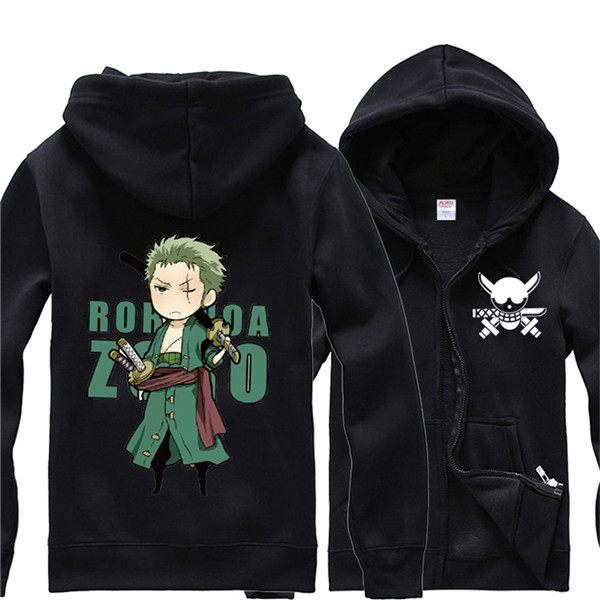 One Piece Straw Hat Pirates Hoodie Zip Roronoa Zoro