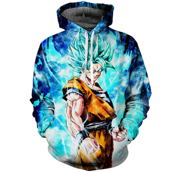 SUPER SAIYAN BLUE GOKU PULL OVER ANIME HOODIE - 3D CLOTHING