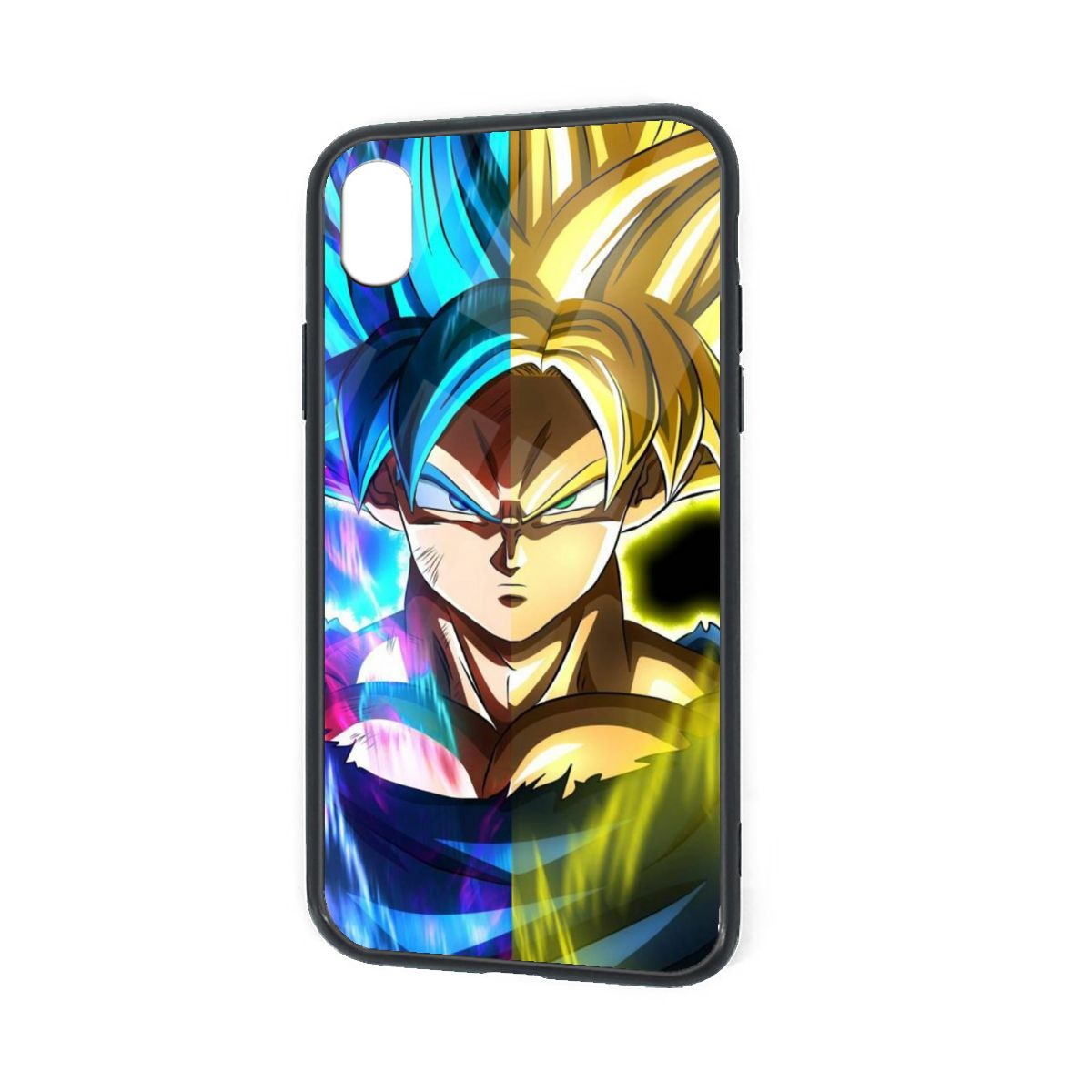 IPhone X XR XS 6 7 8 Plus Hybrid Soft Grip Clear Back Panel Ultra-Thin [Slim Fit] Cover Goku SSJ 2 and Blue