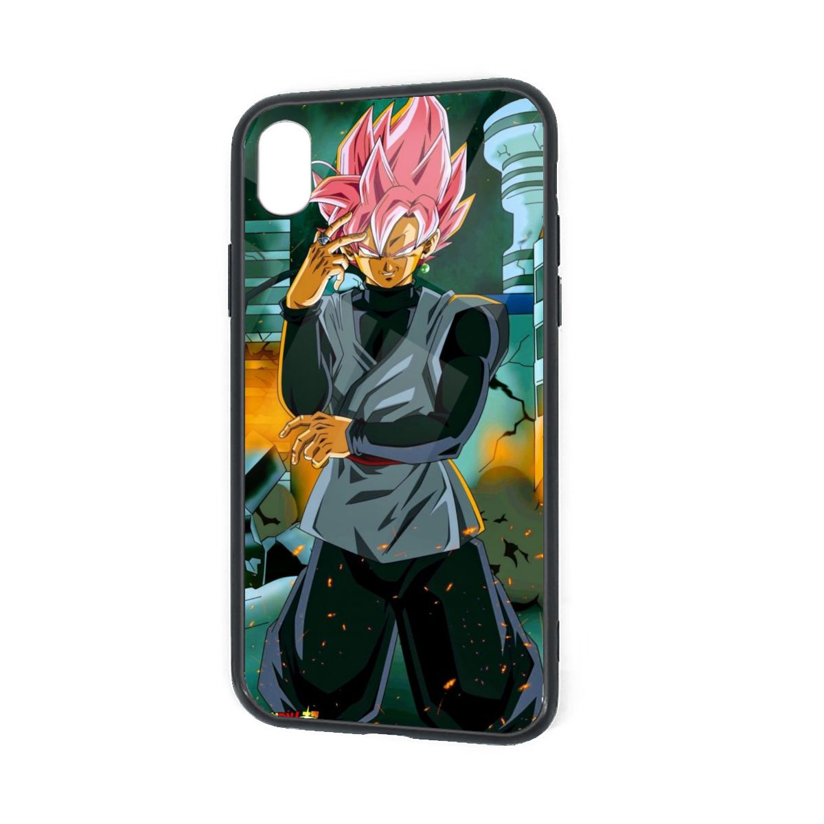 IPhone X XR XS 6 7 8 Plus Hybrid Soft Grip Clear Back Panel Ultra-Thin [Slim Fit] Cover Black Goku Smile