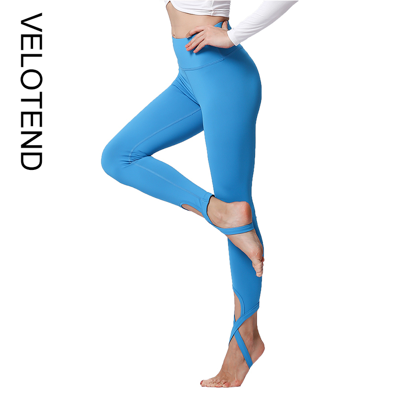 8e13722d26386a Ladies Yoga Pants High Waist Solid Cross Stirrup Stretch Sexy Yoga Ballet Dance  Training Sport Gym