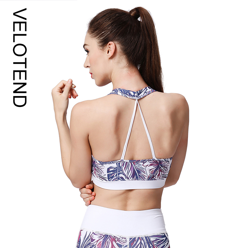 bf2ab3799a Printed High Impact Sports Bras Padded Push Up Wirefree Sexy Stretch  Breathable Running Gym Workout Women