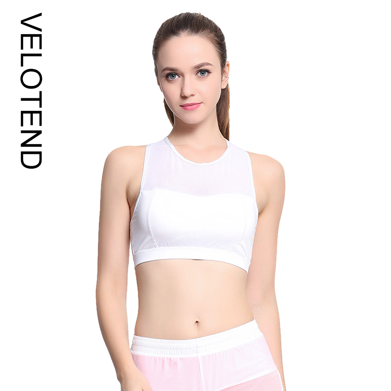 860aaf989c Women Mesh Splice Cross Back Solid Quick Dry Breathable Polyester Yoga  Running Gym Workout Padded Underwear