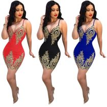 9032030 2019 women's wholesale dress sexy applique halter dress