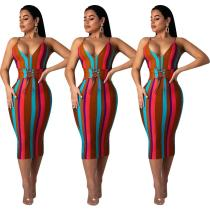 9032126 Women fashion colorful striped corn-eye zip spaghetti strap nightclub dress
