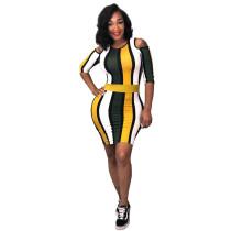 SYA8263 casual cold shoulder stripe knee length woman dress