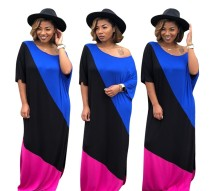 HGL1042 women's casual contrast color patchwork long maxi dress HGL1042