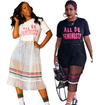 ASGL6033 letter long mesh maxi dress women casual