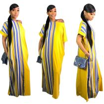 9032101 2019 Women fashionable loose striped short sleeve maxi dress