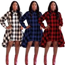 CQ5130 women fashion plaid loose high low casual shirt dress CQ5130