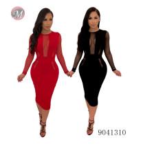 9041310 Gauze net see-through stitching wrap buttock dress