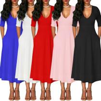 WNAK8533 women fashion elegant solid half sleeve a line lady maxi dresses