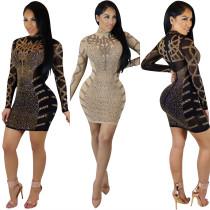 WNAK8496 women sexy mesh see through stretchy bandage bodycon rhinestone club dresses