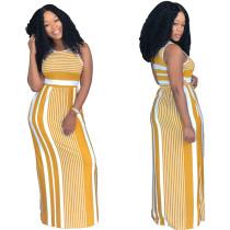 SYA8254 casual yellow striped long maxi dress women