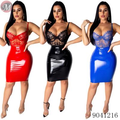 9041216 HOT sale sexy lace backless PU bandage clubwear dresses women
