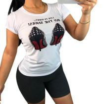 9032105 Fashion digital printed short sleeve t shirt women
