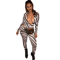 OJS9059 women sexy deep v-neck striped skinny one piece jumpsuit with long pants OJS9059