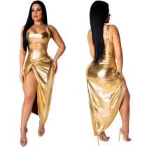 9032210 2019 Hot sale gold solid high slit spaghetti strap club dresses