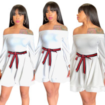 CQ5115 white solid off shoulder a line umbrella women dresses