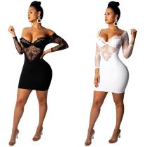 MSM878 women fashion sexy strapless lace bandage bodycon dress MSM878