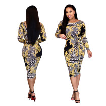 9032205 sexy striped floral printed bandage body con dress women