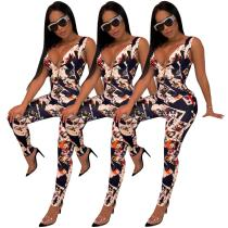 9031208 Wholesale women printed sleeveless long pants jumpsuit for daily