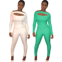 OPL5216 sexy 2 colors solid backless ski bandage women bodycon jumpsuit