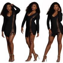 HGL801 black solid long sleeve lady sex sexy dress club