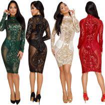 WNAK8524 women's mesh net transparent sequin sexy clubwear dresses