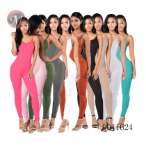 9041624 Women solid suspender sleeveless bandage bodycon jumpsuit