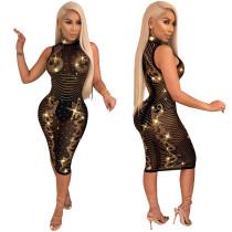 WNAK8645 women fashion sexy mesh transparent gold bodycon rhinestone club dress