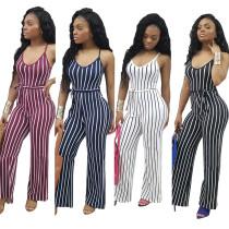 MDY102 striped spaghetti strap sleeveless wide leg jumpsuits women 2018
