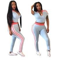 women's side stripe crop top and pants two pieces outfits CQ5021