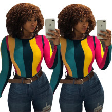 women's fashion contrast color striped t shirt LBS6117