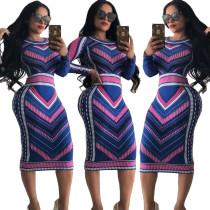 ASGL6075 women fashion printed long sleeve bodycon pencil dress ASGL6075