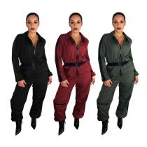 9031219 Wholesale fashion 3 colors solid long sleeve zipper jumpsuit with belt