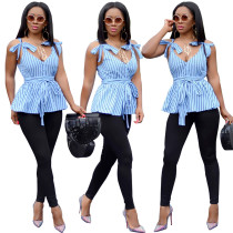 sexy V-neck spaghetti strap sleeveless ruffle striped ladies blouses and tops HJ5027